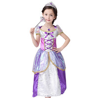 Wholesale Printed Princess Dresses Holiday - Rapunzel dress Costume girls Kids Cosplay Dresses children's days party dress Holiday dress performance clothing girls princess dress A6146
