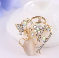 Wholesale Rhinestone Flower Vases - High-grade Pin Brooches Three-dimensional flower vase clear Rhinestone Opal Colorful brooch Corsage clothing X00106