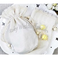 Wholesale Rustic Table Settings - FREE SHIPPING 50PCS Natural Rustic Cotton Favor Bags Favor Holders Birthday Party Table Decor Setting Ideas