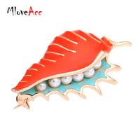 Wholesale Sea Water Pearl Wholesale - MloveAcc Vintage Enamel Conch Sea Snail Brooch Pin Retro Simulated Pearl Accessories Gothic Jewelry