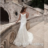 Wholesale Wedding Dresses Unique Necklines - Adalia Sheath Lace Illusion Tulle Lace Neckline Wedding Dresses Chapel Train Sheer Back Unique Bridal Gown