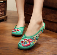 Wholesale Chinese Sandals - Wholesale- Fashion New Casual Chinese Ethnic Style Embroidery Slipper Old Peking National Cloth Shoes Women's Sandals