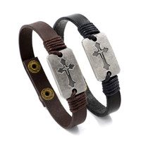 Wholesale Leather Braided Bracelet Bangle Cross - Newest Design Christian Cross Bracelets Genuine Leather Braided Bracelets Handmade Snaps Charm Bracelets Bangles For Men Women Jewelry Gifts