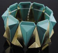 pulseira de geléia charme venda por atacado-Frete grátis New Arrival doces cor geléia de frutas acrílico resina faceta decoração geométrica Beads mulheres Trecho Pulseira