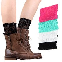 Wholesale lace leg socks for sale - Group buy Stretch Lace Boot Cuffs Women GIRLS LEG WARMERS lace Flower Design Boot Socks Knee