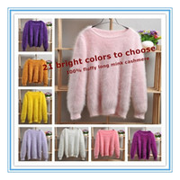 Wholesale Warm Elegant Sweaters - Elegant Fashion Fluffy ladies Women Plush warm Mink woven Pullover round neck Women Sweater 100% genuine mink cashmere sweater for women