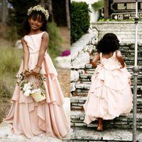 Wholesale Africa Flowers - Bohemian 2016 Latest Blush Pink Africa Flower Girl Dresses For Weddings Cheap Jewel Backless Tiered Ruffles Floor Length Formal Dress EN6145