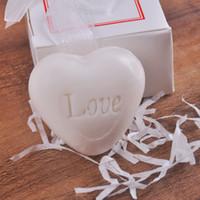 ingrosso a forma di sapone profumato-Hand Made Soap Mini Home Decor Amore di cuore bianco profumato Liscio Sapone squisito Wedding Giveaways 1 18fg F R