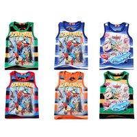 Wholesale Cheap Kid Tank Tops - Cheap price 2016 Kids New Cartoon spider-man cars printed vest boys fashion summer top cotton tanks wholesale
