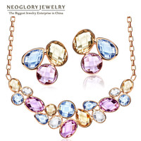 Wholesale Set Crystal Earring Neoglory - Neoglory Light Yellow Gold Color Colorful Crystals Fashion Beads Bridal Jewelry Sets Necklaces Earrings 2017 for Women Fashion