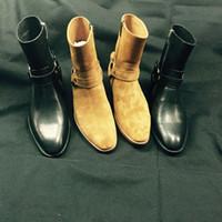 ingrosso fibbie in stoffa marrone-Scarponi da caviglia con fibbia con zip e fibbia in pelle con fibbia in pelle stile british