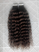 """Wholesale Hair Extensions Tape Curly - 14""""-30"""" 6A Deep Curly Tape Hair Extensions 100% Brazilian Human Tape Hair Extensions 100g 40pcs #4 Brown Skin Weft Tape Hair Extensions"""
