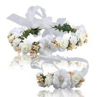 Wholesale Wrist Flower Garlands - Wedding Bridal Bridesmaid White Flower Tourism Vacation Garlands Wrist Flower Headband Wreath Headdress Hair Accessories 2018 For Women Prom