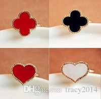 Wholesale Adjustable Acrylic Rings - High-quality rings heart leopard four leaf clover red black white ring charm gifts fashion Jewelry opening adjustable rings free shipping