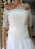 Wholesale Champagne Lace Wedding Shawl - Cheap Amazing Wrap Off Shoulder Lace Bridal Bolero with Half Long Sleeves Classic Lace Bridal Jacket Wedding Shawl Wrap Bridal Accessory
