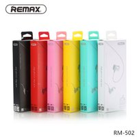 Wholesale Music Box Noise - Original Remax RM-502 Stereo Music Earbuds In Ear HiFi Bass Wired Earphone Colorful Noise reduce Headset for all phones with Mic retail box