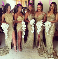 Wholesale Sexy Evening Gown Long Split - 2016 Gold Sexy Bling Sequins Bridesmaid Dresses Halter Neck Illusion Back High Split Evening Dresses Appliques Long Maid of Honor Gowns