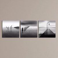 3 Pcs Modern Bridge Paintings Seascape Pintura a óleo Decoração para casa Canvas Picture Black White Wall Art Prints para Office Living Room
