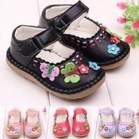 Wholesale Dress Baby Girl Hot Pink - Hot Wholesale PU Leather Flower Butterfly Rubber Patch Hook & Loop Strap Dress Baby Girl Shoes Toddler Shoes Two Colors