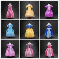 Wholesale Sleeping Beauty Dresses For Girls - sleeping beauty sofia Rapunzel snow white Cinderella belle princess party costume dress girls tutu ball gown for girls 9 designs