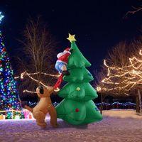 Wholesale Christmas Inflatable Santa Claus - 1.8m Tall Inflatable Christmas Tree Santa Claus Dog Decor X'mas Outdoor Decorations Ornaments AC100-240V EU Cute Xmas Decoration
