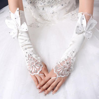Wholesale White Performance Gloves - Wholesale- Long white girl lady princess dancing performance party fingerless long gloves with bowknot free shipping wholesale