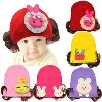ücretsiz bebek başlık tasarımı toptan satış-2016 Bahar Bebek Örme Şapkalar Karikatür Çiçek Peruk Tasarım Beanies Skullies Caps Çocuklar Aksesuarları Ücretsiz Nakliye