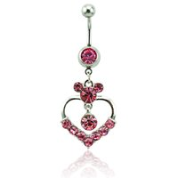 Body Piercing Fashion Bagues à ventre à ventre chirurgical Barbells Dangle 2 Style Rhinestone Heart Navel Rings Jewelry