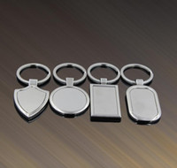 Wholesale blank business - Metal Blank Tag keychain Creative Car Keychain Personalized Stainless Steel Key Ring Business Advertising For Promotion