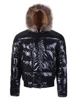 braune kapuzenjacke groihandel-Hohe Qualität Winter Daunenjacke Bulgarie Männer Warme Kapuzen Waschbärpelz Jacken Für Männer Luxusmode Marke Gepolsterte Mann Mäntel Braun Verkauf