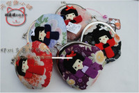 Wholesale Wholesale Japanese Kimonos - 10 pieces cute hasp Japanese kimono girl doll small Portable Wallet coin purse coin bag Japan Style flowers in back side