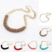 Wholesale Womens Chunky Chain Necklace - 1pc Womens Handmade Bohemia Style Beaded Chunky Chain Bib Collar Necklace C00540