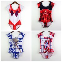 Wholesale America Swimsuit - Short Sleeve Beachwear Women Slim One Piece Swimsuit Captain America Shield Thor Hammer Iron Man Bathing Sets Sailor Moon Swim Set LNSst