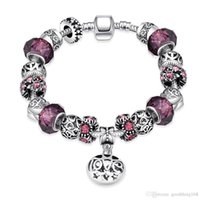 Wholesale European Bracelet Zircon - 2016 Hot Selling Fashion Charm Purple Zircon Silver Plated Bracelets European Charm Snake Chain DIY Beads Fits Pandora Bracelets for Women