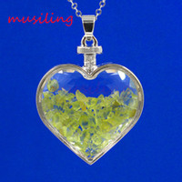 Wholesale Heart Glass Bottles - Natural Gem Stone Heart Pendants Pendulum Jewelry Amethyst Garnet etc Stone Glass Heart Wishing Bottle Charms Fashion Jewelry