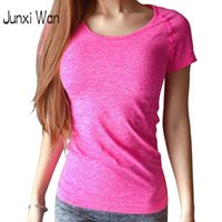Wholesale Professional Women S - Women Professional Quick Dry SportsT-shirt 2016 Fitness Running Gym Short-Sleeved Tee Plus Size Jogging Exercises T-shirt WT0188