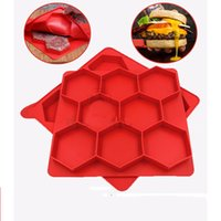 Wholesale Hamburger Tool - Hamburger Press Mold Red Silicone Meat Burger Press Maker Freezer Container Barbecue Baking Moulds Kitchen Tools