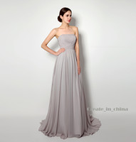 Wholesale Grey Strapless Cocktail - Party Dresses Chiffon Strapless pleated net color Grey Skirt Empire Wedding dresses In Stock Dresses Bridal Real Photo 2016 New