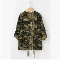 Wholesale Tie Denim Jacket - Hot sale Autumn new tide brand women coat camouflage denim jacket jacket hooded drawstring tie blouse