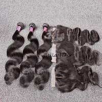 tissage de la tête complète péruvienne achat en gros de-Paquet de cheveux Bella Hair® avec fermeture Tissage de cheveux humains non traité avec tête complète péruvienne et fermeture complète, couleur noire Body Wave Livraison gratuite