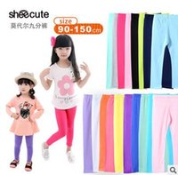 Wholesale Kids Lycra Leggings - girls leggings girl pants new arrive Candy color Toddler classic Leggings 2-13Y children trousers baby kids leggings