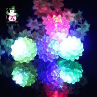 Wholesale Kids Elastic Rings - LED Finger Ring Strawberry Crystal Elastic Rubber Ring Light LED Flashing Mix Colors For Halloween Christmas Festival Kid Light-Up Toy