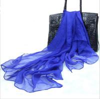 moda de gasa de seda al por mayor-Moda Georgette color sólido bufanda primavera verano otoño abrigo largo playa seda bufanda de gasa 110 * 150 cm envío gratis