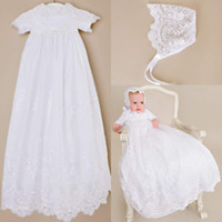 Wholesale Lace Christening Gown For Boys - Custom made 2016 New Lovely Short Sleeve Baptism Gown White Ivory Lace Christening Gowns Dress for Baby Girls and Boys Cheap Toddler baptism