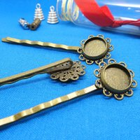 Wholesale Cameo Hair Pins Wholesale - Newly Design Hair Clips100pcs Wholesale Antique Bronze inner 10mm Flower edge Cameo Bezel Setting Cabochons Tray Hair Pins Blank