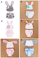 Wholesale Rabbit Hat Costume - Baby Crochet Christmas photo props Cute Rabbit Ears hat pants sets costume for Newborns photo props Christmas gifts