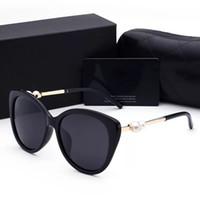 kutu incileri toptan satış-2018 kadın güneş gözlüğü bayan lüks tasarımcı kutusu logosu ile UV400 polarize moda kadınlar için güneş gözlüğü inci çerçeve güneş gözlüğü