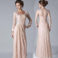 Wholesale Mother Brides Dress Cheap - 2016 New Blush Pink Lace Mother Of The Bride Dresses Illusion Long Sleeves Appliques Floor Length Formal Mother Dress Evening Gowns Cheap