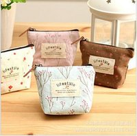 Wholesale Country Style Bags - Wholesale-Free ship!1lot=20pc!Country style floral canvas small wallet   key cases   card package coin bag pencil bag