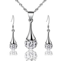 Wholesale Shambhala Pendant - Top Grade Silver Jewelry Sets New Fashion Hot Sale Shambhala Earrings Pendants Necklaces Set for Women Gift Wholesale Free Ship 329WH